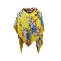 روسري دست دوز طرح طبيعت زرد