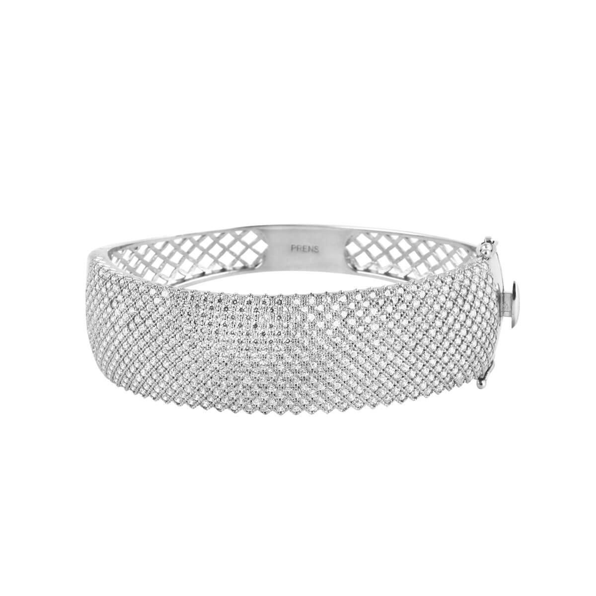 خرید دستبند نقره زنانه نگین دار مدل Wide