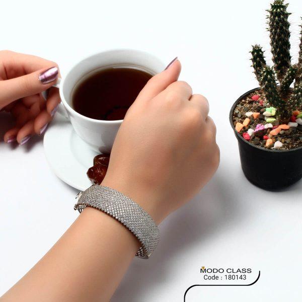 خرید دستبند نگین دار نقره زنانه مدل wide
