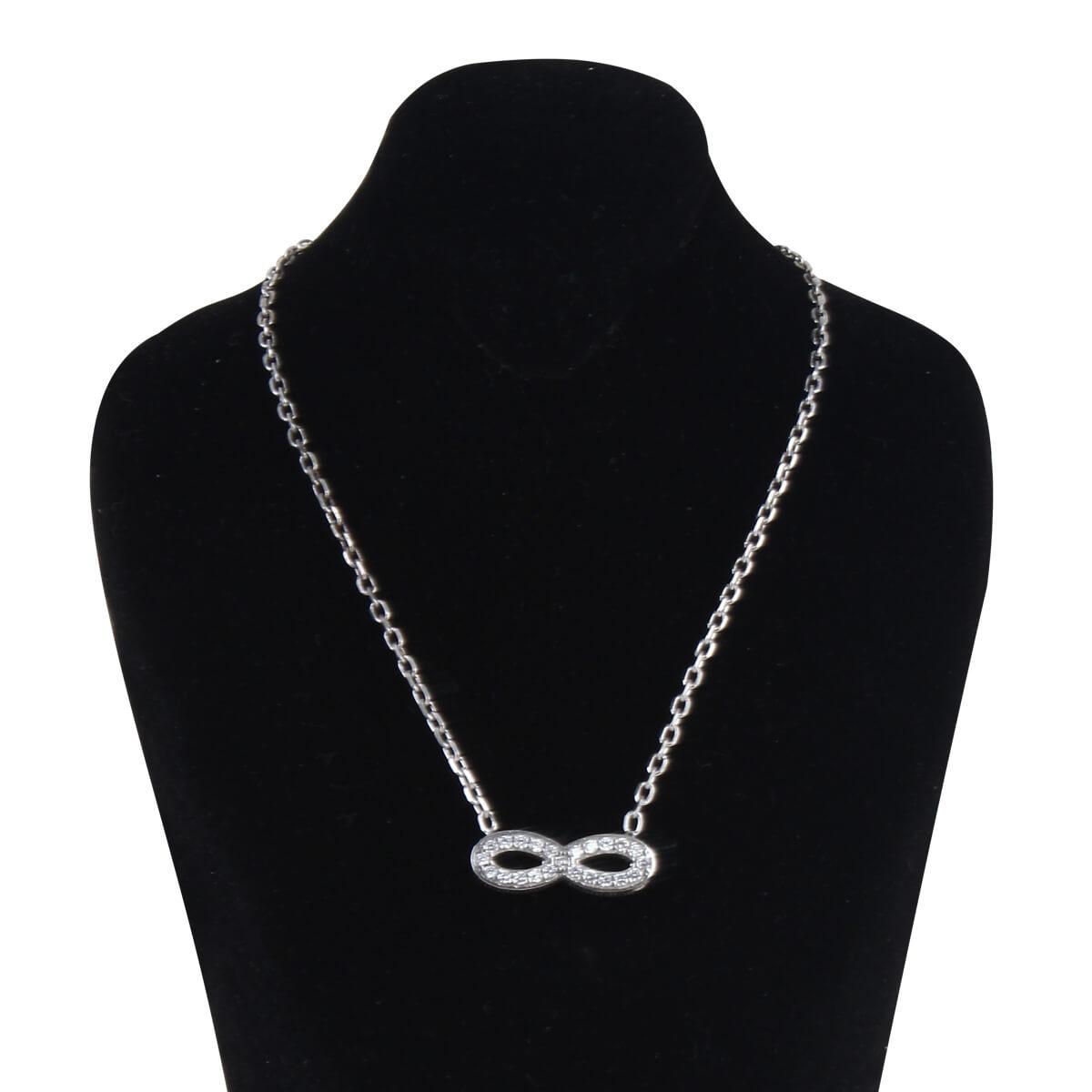 خرید گردنبند نقره زنانه نگین دار مدل بی نهایت