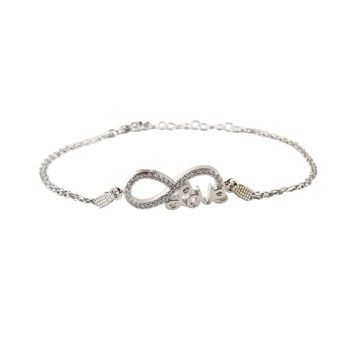 دستبند نگین دار نقره دخترانه مد و کلاس مدل عشق بی نهایت کد ۱۸۰۱۰۵