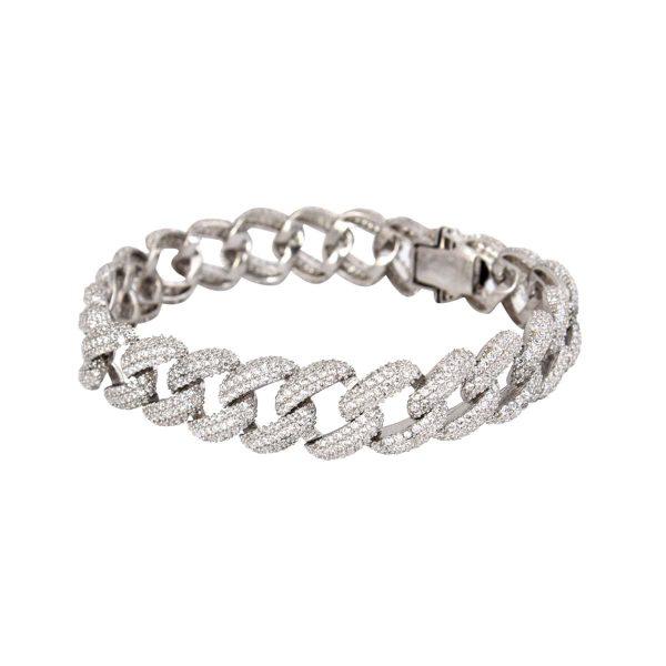خرید دستبند نقره زنانه نگین دار مدل Cartier