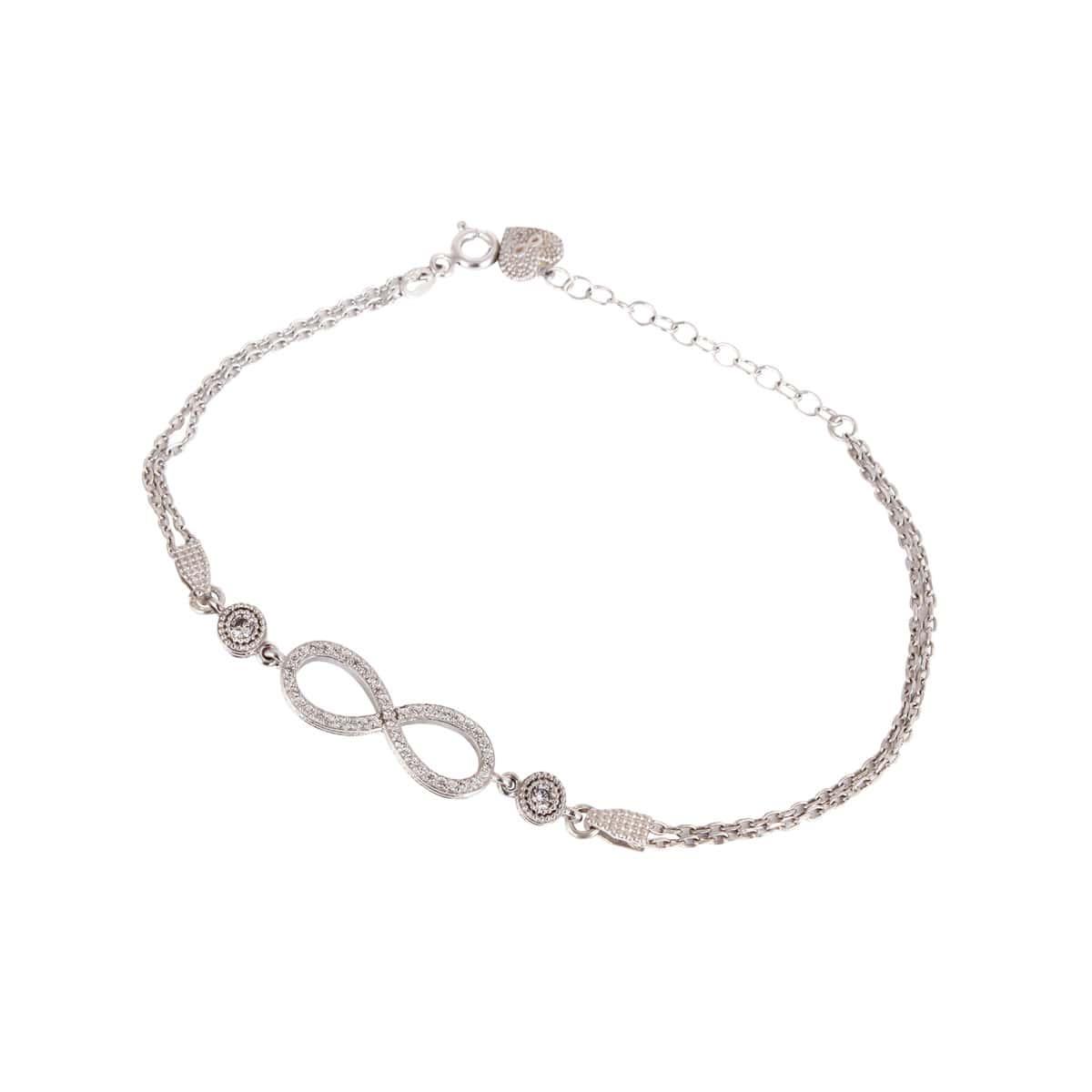 خرید دستبند نقره زنانه نگین دار مدل بینهایت
