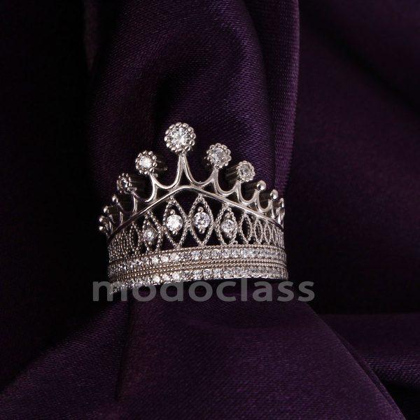 انگشتر نقره مدل Crown کد ۱۸۰۱۰۲ سایز ۸