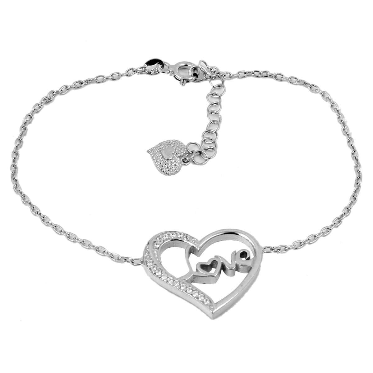 خرید دستبند نقره دخترانه طرح Love
