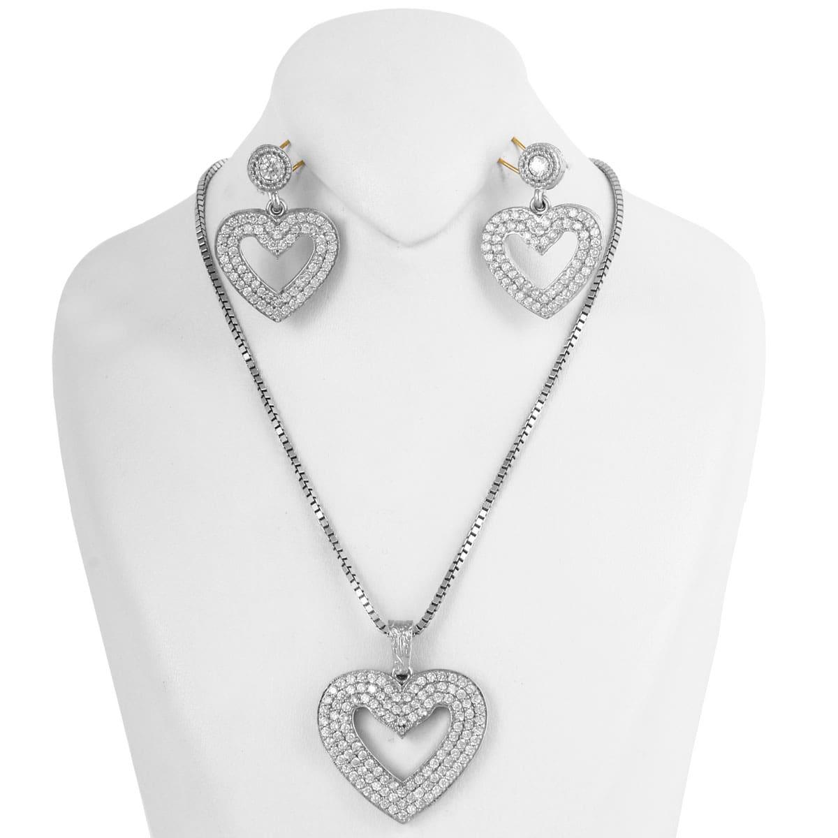 خرید نیم ست نقره زنانه نگین دار مدل قلب نگینی