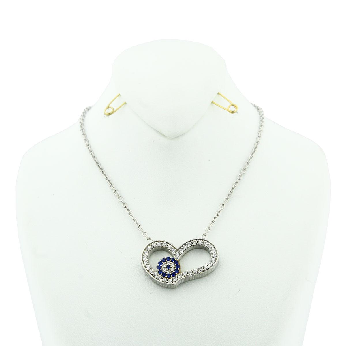 خرید گردنبند نقره زنانه مدل Flower & heart