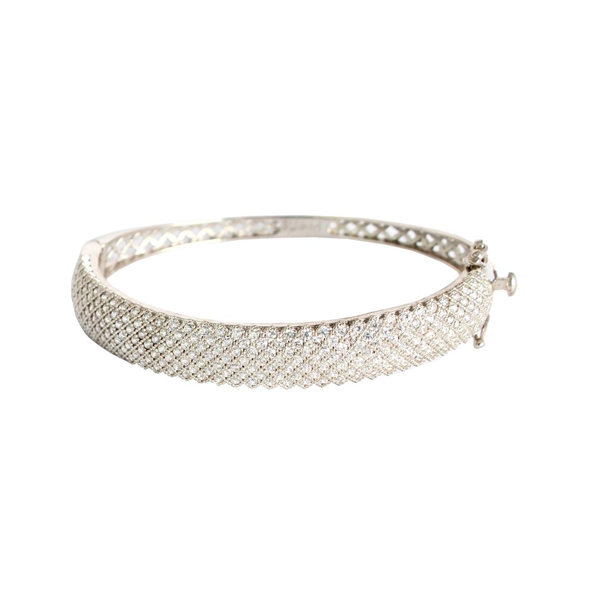 خرید مشخصات دستبند نقره زنانه نگین دار مدل wide