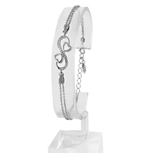 خرید دستبند نقره زنانه نگین دار مدل بینهایت و عشق