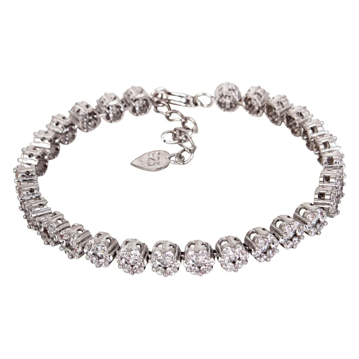 خرید دستبند نقره دخترانه نگین دار مدل آدریان
