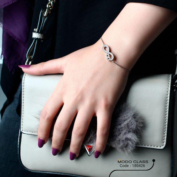 خرید دستبند نقره زنانه نگین دار مدل اطلس