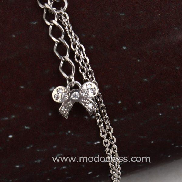 دستبند نقره دخترانه نگین دار مدل رزا مد و کلاس کد 180484