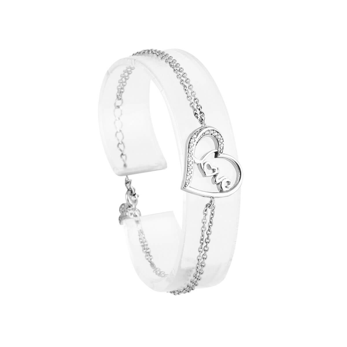 خرید دستبند نقره دخترانه نگین دار مدل رزا