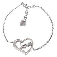 دستبند نقره دخترانه نگین دار مدل سالسا مد و کلاس کد 180485