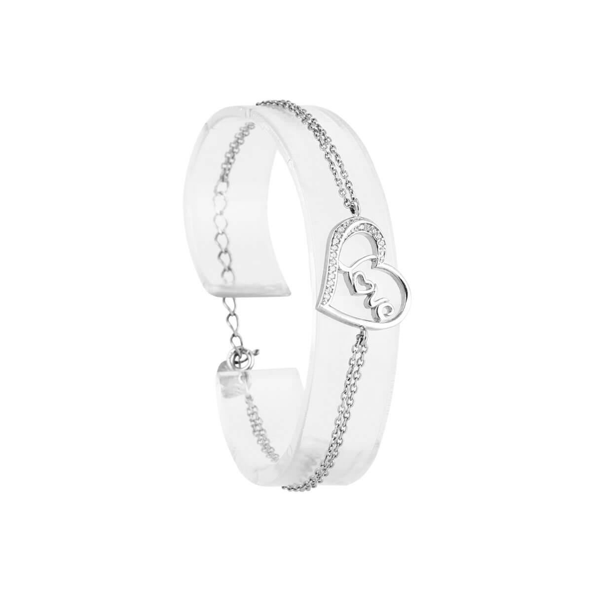 خرید دستبند نقره دخترانه نگین دار مدل رامونا