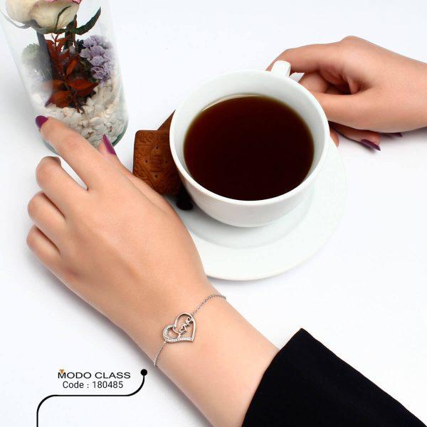 خرید دستبند نقره دخترانه نگین دار مدل سالسا