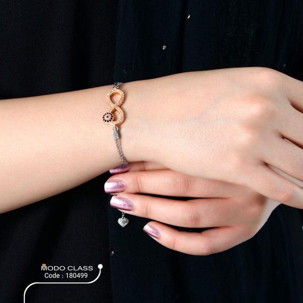 خرید دستبند نقره زنانه نگین دار مدل بی نهایت