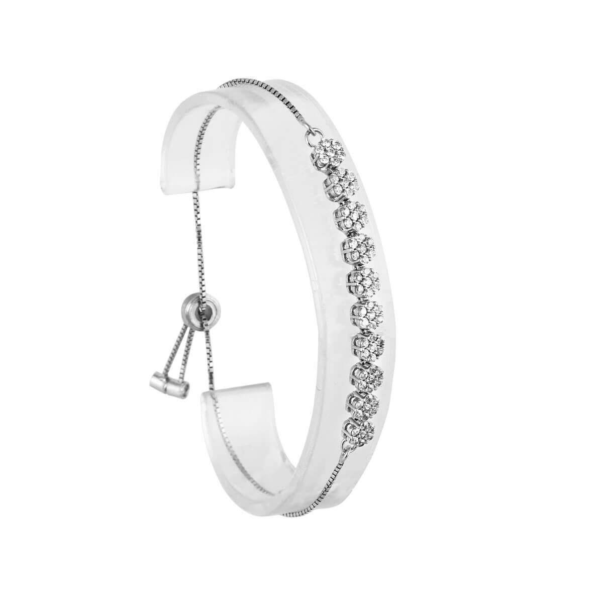 قیمت و خرید دستبند نقره زنانه نگین دار مدل نگینا