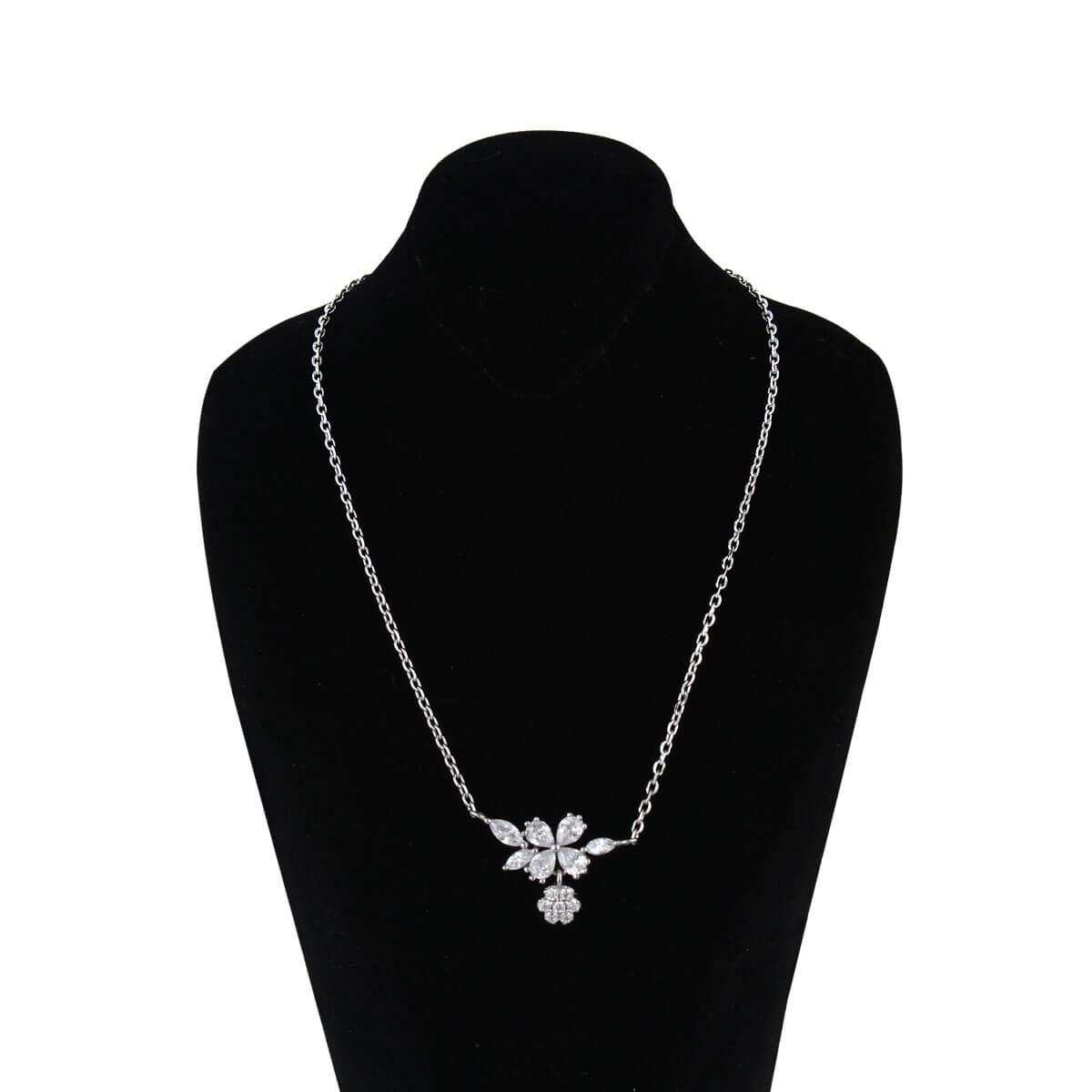 قیمت و خرید گردنبند نقره زنانه نگین دار مدل یامور