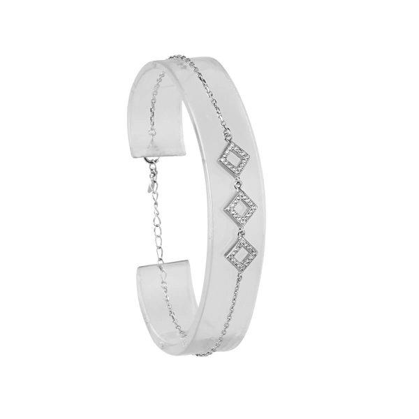 قیمت و خرید دستبند نقره زنانه نگین دار مدل شَلاله