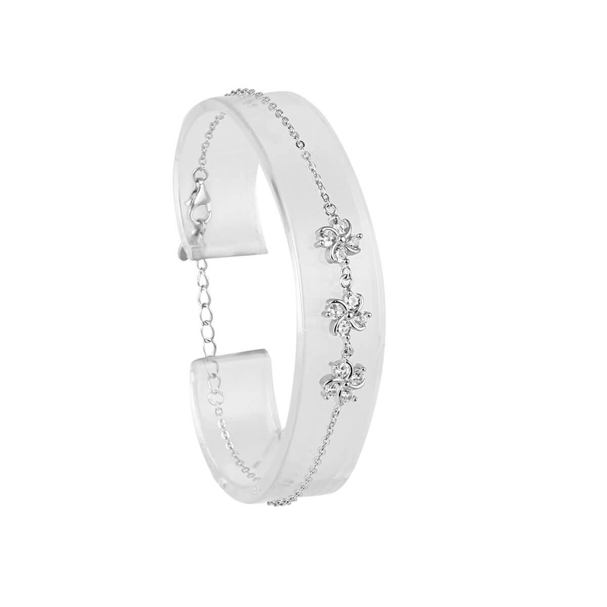 قیمت و خرید دستبند نقره زنانه نگین دار مدل شمامه