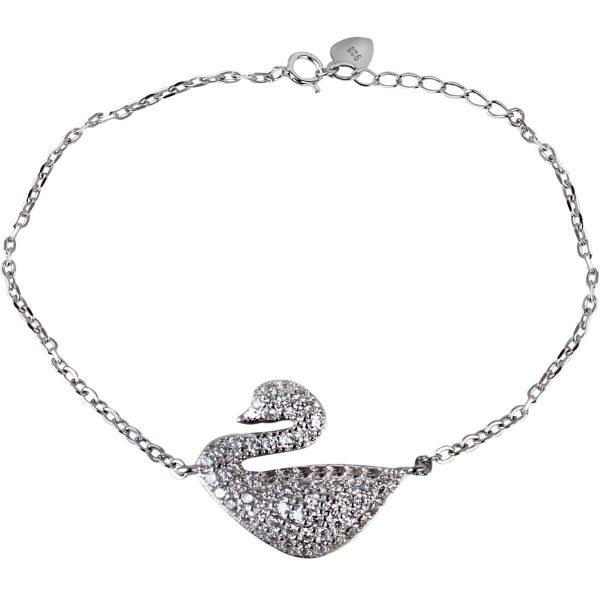 خرید دستبند نقره دخترانه نگین دار مدل قو