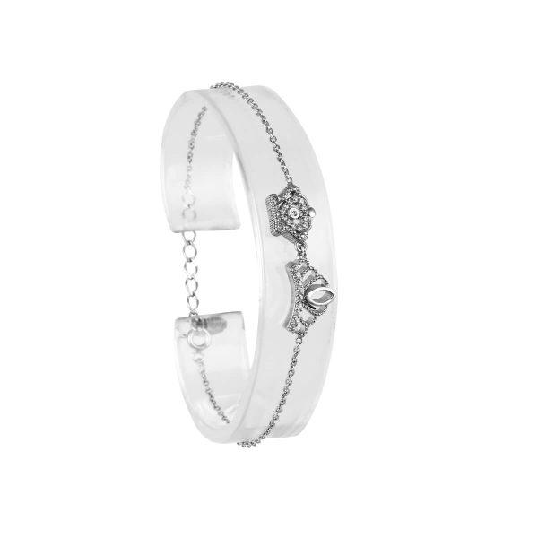 خرید دستبند نقره دخترانه نگین دار مدل تاج