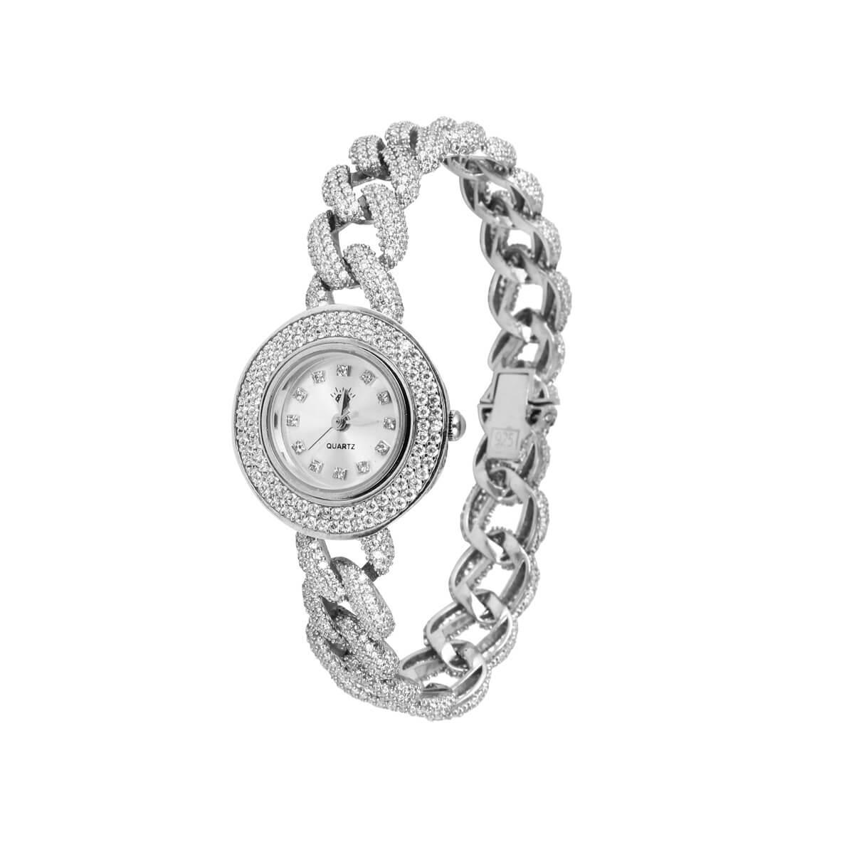 خرید ساعت مچی نقره زنانه نگین دار مدل کارتیه
