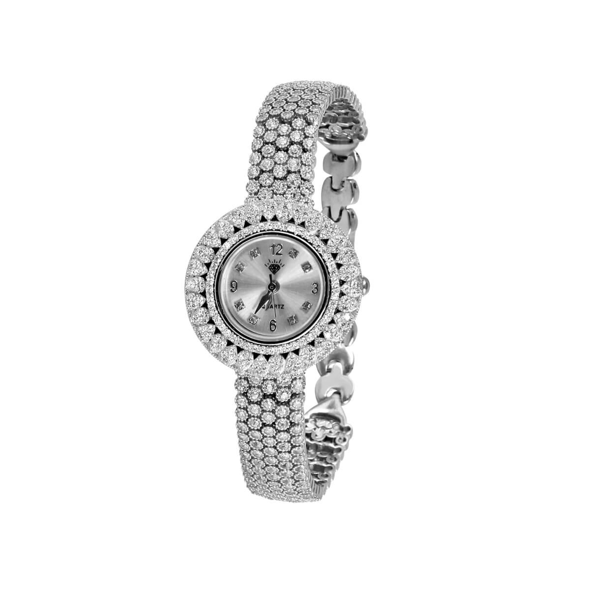 خرید ساعت مچی عقربه ای نقره زنانه نگین دار